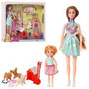 Кукла 29 см, домик для животных, дочка 12 см, собачка 3 шт., 5 см, аксессуары, в коробке 36,5-34-7 с