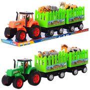 Трактор инерционный, с прицепом, 48 см, животные 4 шт, 2 цвета, в слюде 52-16,5-10,5 см