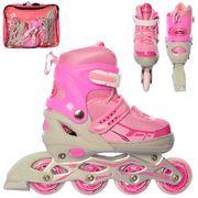 Ролики раздвижные, шнуровка + бакля, алюминиевая рама, колеса ПУ, 1 свет, розовый, в сумке