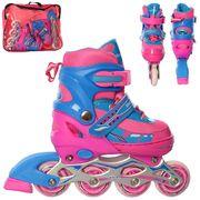 Ролики раздвижные, шнуровка + бакля, алюминиевая рама, колеса ПУ, 1 свет, розовый с синим