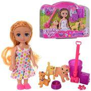 Кукла 15 см, собачка 3 шт, от 4 см, 2 вида, в коробке 27,5-20-5,5 см