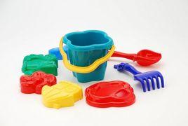 0985 Песочный набор Колокольчик №2: ведёрко, сито, лопатка и грабельки и 4 большие паски