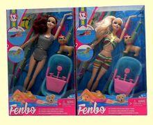 Кукла типа Барби 2 вида, шарнирная, в купальнике, с собачкой, ванной, в коробке 33*20,5*6,5 см