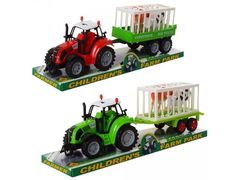 Трактор инерционный, 2 цвета, с прицепом, животными, под слюдой  37,5*13,5*10 см