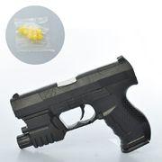 Пистолет 15 см, на пульках, свет, лазер, на батарейке (таблетка), в кульке 15-10-2,5 см