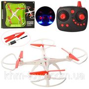 Р.У. Квадрокоптер, с гироскопом, свет, вращается на 360 гр., на аккумуляторе, USB, 2 цвета, в коробк