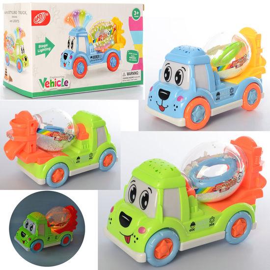 Машина бетономешалка, 22 см, музыка, свет, 2 цвета, на батарейке, в коробке 22-13-9,5 см