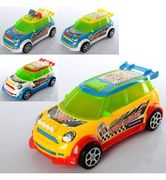 Машина заводная, 19 см, свет, 2 вида, микс цветов, на батарейке (таблетка), в кульке 19-9-9 см