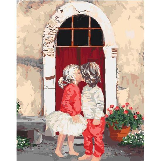 Набір для розпису по номерах. Діти Перший поцілунок 2 40*50 см. СЛОЖНОСТЬ 4*