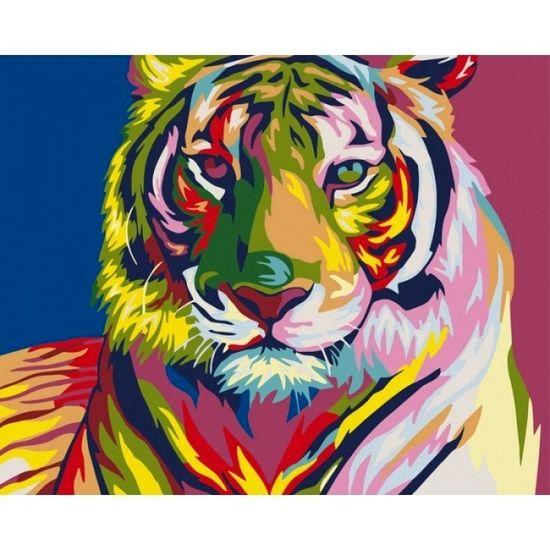 Набір для розпису по номерах. Тварини, птахи Тигр поп - арт 40х50 см