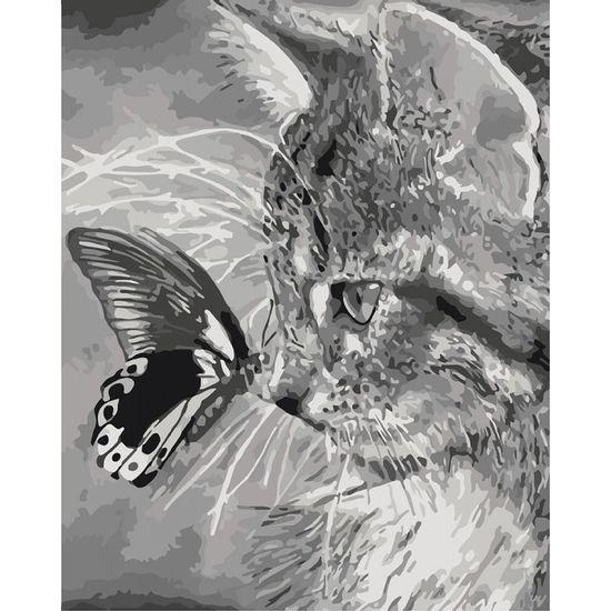 Набір для розпису по номерах. Тварини, птахи Кошеня і метелик 40х50 см