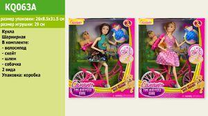 Кукла, 2 вида, собачка, велосипед, скейт, шлем, в коробке 31,5*26*8,5 см