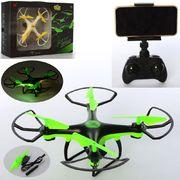 Р.У. Квадрокоптер, на аккумуляторе, 24 см, свет, камера, Wi-Fi, 2 цвета, USB-зарядка, в коробке 40,5