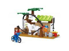 Конструктор SLUBAN, ферма, конюшня, лошадь, фигурки, 110 дет., в коробке 26-19-4,5 см
