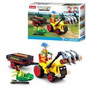 Конструктор SLUBAN трактор с прицепом 17,5 см, фигурка, 110 дет., в коробке 19-14,5-5 см