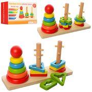 Деревянная игрушка Пирамидка-ключ, 3 шт, 22 см, кольца 5 шт, 2 вида, в коробке 23-12,5-7,5 см
