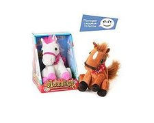 Лошадь, размер маленький, повторюшка, двигает головой, мягкий, 2 цвета, на батарейке, в коробке 22,5