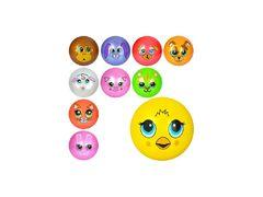 Мяч детский, 9 дюймов, одностикерный, ПВХ, 60-65 г, 10 видов (мордочки животных)
