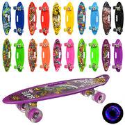Скейт пенни, 59-16 см, алюминиевая подвеска, колеса ПУ, светятся, антискользящая, 10 видов, в кульке