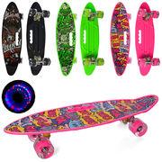 Скейт пенни, 60-17 см, колеса ПУ - светятся, алюминиевая подвеска, антискользящее покрытие, 3 вида,в