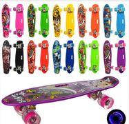 Скейт пенни, 55-14,5 см, колеса ПУ, светятся, рисунок, 10 видов, в кульке