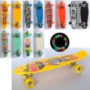 Скейт пенни, 55-14,5 см, колеса ПУ - светятся, аллюминиевые подвески, 6 видов, в кульке
