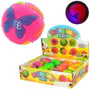 Мяч массажный, 7 см, бабочка, свет, пищалка, на батарейке (таблетка), 4 цвета