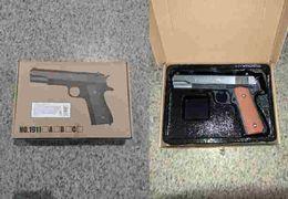 Пистолет, металл, на пульках, 22 см, в коробке 26-17,5-4,5 см