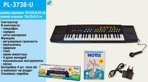 Орган, от сети или на батарейке,3,5 октавы, 8 ритмов, микрофон, нотная книга, в коробке 78,5*8,5*24
