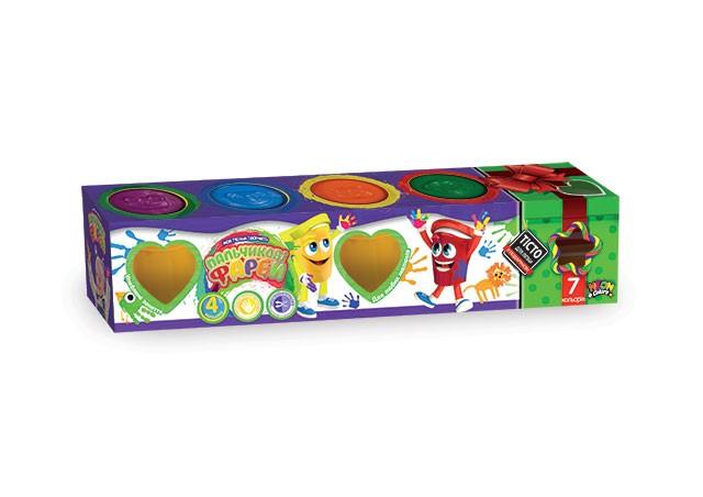 Набір креативної творчості Пальчикові фарби 4 кольори в банках, рос.