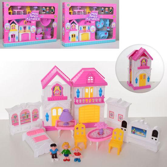 Домик, 19-10-9 см, мебель, фигурки 3шт, от 5 см, 3 вида, в коробке  44-33-7,5 см