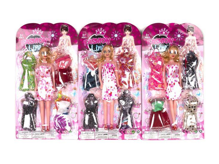 Кукла с нарядом, 27,5 см, платье 4 шт, 3 вида, на листе 38-20,5-3 см