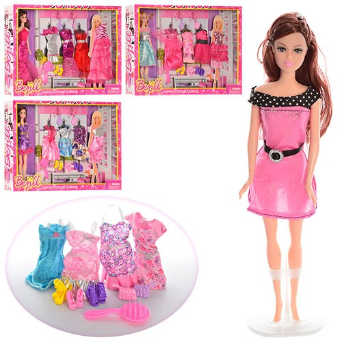 Кукла с нарядом, 28 см, платья, обувь, расческа, сумочка 2 шт., 4 вида, в коробке 51-33,5-6 см