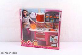 Кукла Повар, Мебель для кухни, аксессуары, посуда, в коробке 33*32,5*6 см