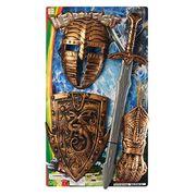 Набор рыцаря, щит 28-21 см, меч 56 см, маска 22-15 см, на листе 33-57,5-4 см