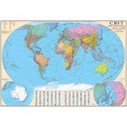 Политическая карта мира настенная 110х77 см М1:32 000 000 картон ИПТ