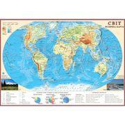 Карта мира настенная 65х45 см М1:55 000 000 картон/ламинация ИПТ