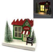 Новорічний декоративний 3D будиночок з LED підсвічуванням Кафе 13.5х16.5х12.0 см Josef Otten KP-F-0004