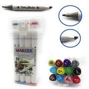 DSCN0228-12 Набор скетч маркеров M&S.,спирт.основа, трехгран.корп., 12цв, пласт.чемодан, 12шт/э (2