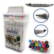Набір скетч маркерів 18 кольорів ,тригранний корпус, спиртова основа,  двосторонні в пластиковій валізі  M&S Josef Otten DSCN0228-18 (1/2/40)