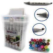 Набор скетч маркеров 24 цвета трехгранный корпус, спиртовая основа, духсторонние в пластиковом чемодане  M&S Josef Otten 0228-24 (1/30)