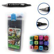 DSCN0229-12 Набор скет маркеров TouchCool скош+тонк, 12цв., пласт. цемодан, 12шт/этик. (4/60)