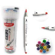 Набір скетч маркерів 12 кольорів спиртова основа,  двосторонні в пластиковій валізі з ручкою  Josef Otten 0233-12 (6/96)