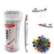 Набір скетч маркерів 24 кольори спиртова основа,  двосторонні в пластиковій валізі з ручкою Josef Otten 0233-24 (4/48)