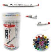 Набір скетч маркерів 36 кольорів спиртова основа,  двосторонні в пластиковій валізі з ручкою Josef Otten 0233-36 (4/32)