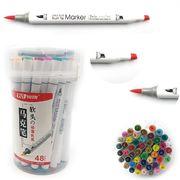 Набір скетч маркерів 48 кольорів спиртова основа,  двосторонні в пластиковій валізі з ручкою Josef Otten 0233-48 (4/24)