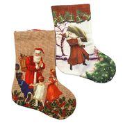 DSCN0596 Носок новогодн. плотн. ткан. Дед мороз 20*15см, mix, 1шт/этик. (1)