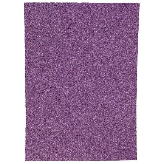 17GLKA4-073 Фоамиран EVA 1.7±0.1MM Светло-фиолетовый GLITTER HQ A4 (21X29.7CM) с клеем, 10 лист./п