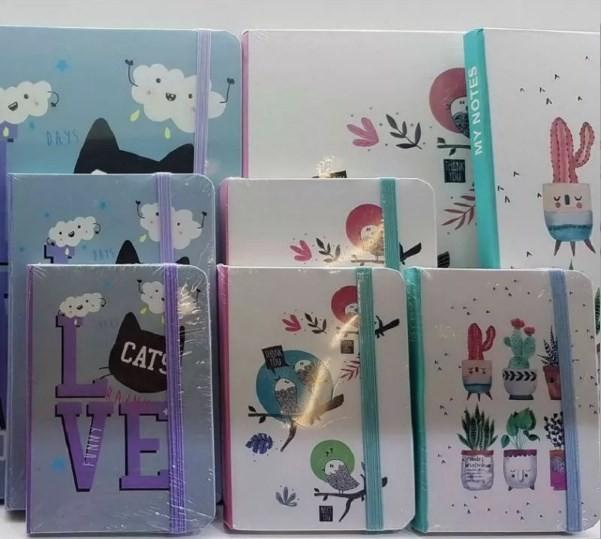 Блокнот А5 80 аркушів кремовий папір в лінію прошивний картонна обкладинка на гумці Lovely Josef Otten 150402-A5 (16/96)