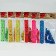 3487 Набор линеек силикон. гибких Flex 4 предм.: 2 угольника+транспортир+линейка 15 см (12/600)